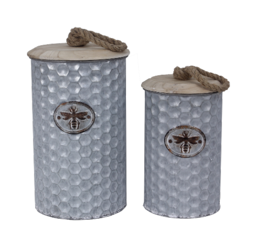 Bee Nesting Cannister Tin Set of 2 Perspective: front
