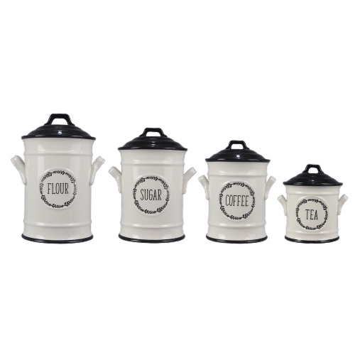 Ceramic 4PC.  Cannister Set with Black Accents Perspective: front