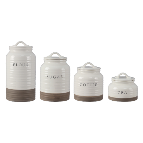 Ceramic Cannister Set Flour, Sugar, Coffee, Tea Perspective: front