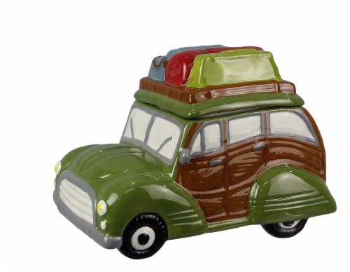Ceramic Woody Wagon Cookie Jar Perspective: front