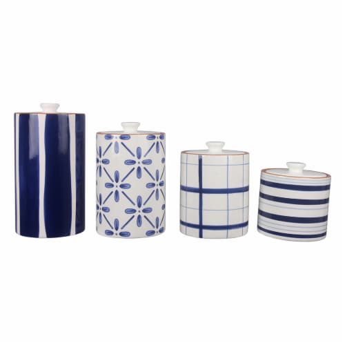 Ceramic Blue and White 4 PC.  Cannister Set Perspective: front
