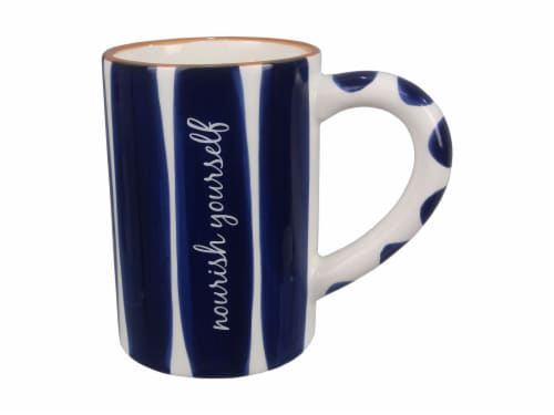Ceramic Blue and White 4 PC. Mug Set Perspective: front