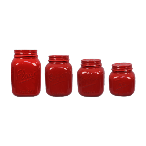 Ceramic Red Mason Jar 4 PC. Cannister Set Perspective: front