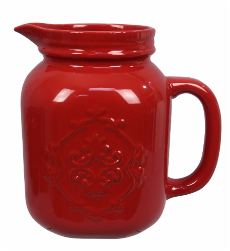 Ceramic Red Mason Jar Pitcher Perspective: front