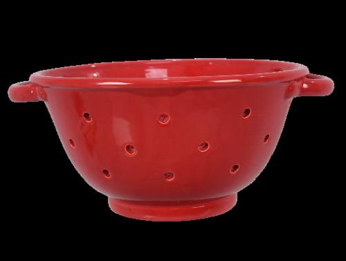 Ceramic Red Colander Perspective: front