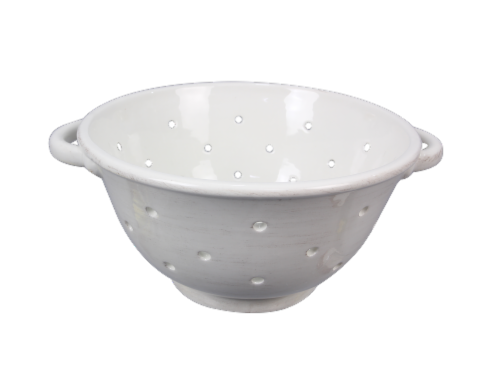 Ceramic White Colander Perspective: front