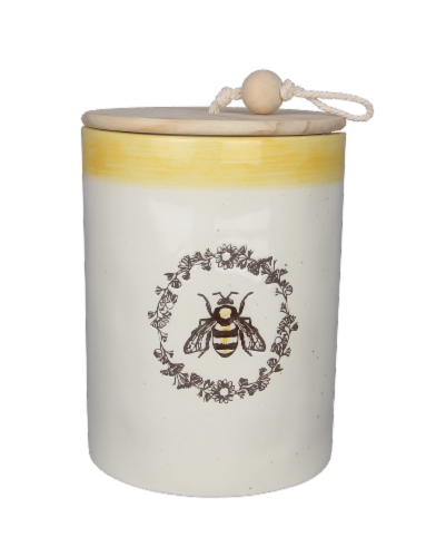 Ceramic Bee Canister with Wood Lid Perspective: front