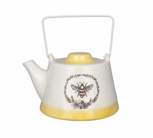 Ceramic Bee Tea Pot with Metal Handle Perspective: front
