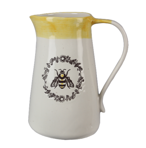 Ceramic Bee Pitcher/Vase Perspective: front