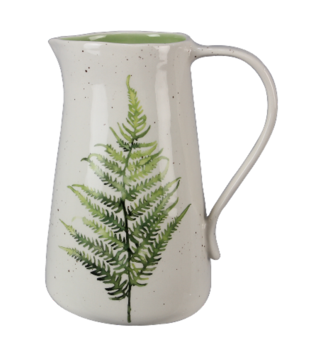 Ceramic Botanical Fern Pitcher/Vase Perspective: front