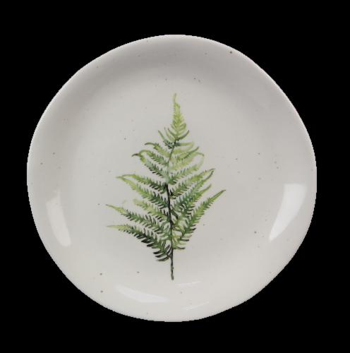 Ceramic Botanical Fern Snack Plate 4 Piece Set Perspective: front