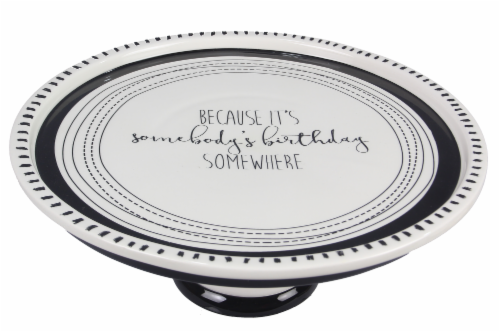 Ceramic Pedestal Cake Plate Somebody's Birthday Perspective: front
