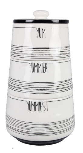 Ceramic Black and White Stacking Cannister Set Perspective: front