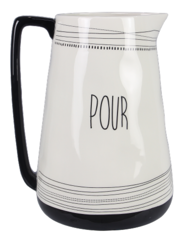 Ceramic Black and White Water Pitcher - Pour Perspective: front