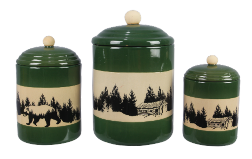 Stoneware Bear/Lodge 3 PC. Cannister Set Perspective: front