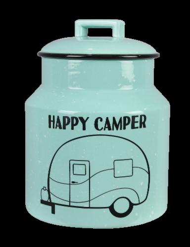 Ceramic Happy Camper Cookie Jar Perspective: front