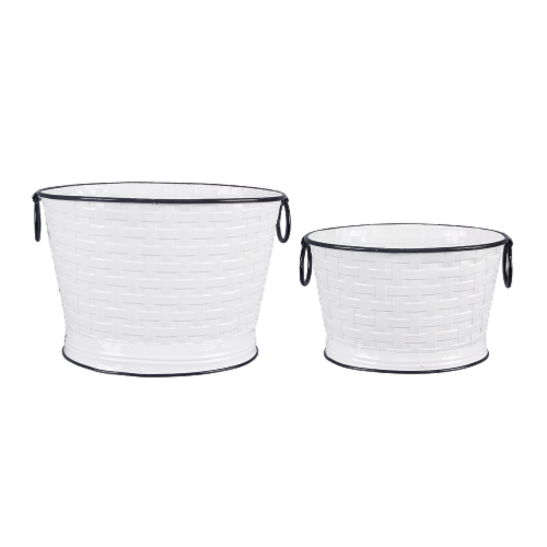 Tin Basket Weave Pattern Bucket 2 PC. Set Perspective: front