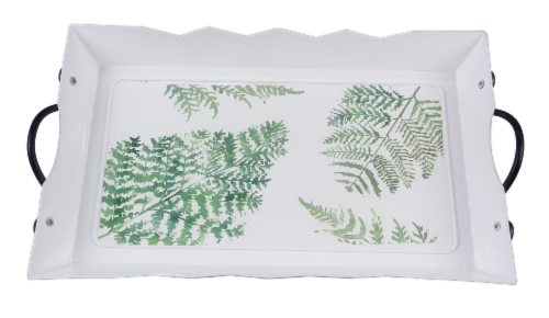 Tin Serving Tray with Botanical Design Perspective: front