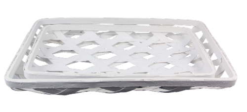 Wood Weaved Whitewashed Trays 2 Piece Set Perspective: front