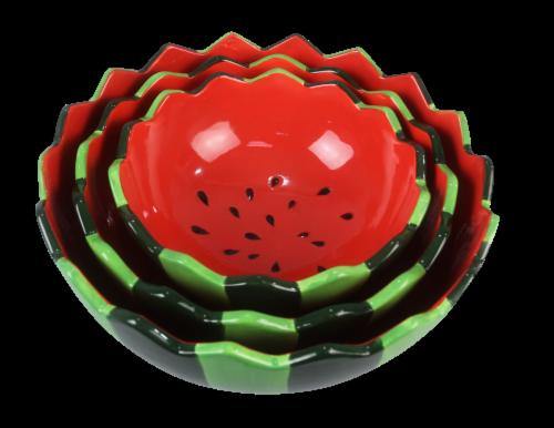 Ceramic Watermelon Nesting Bowls 3 Piece Set Perspective: front