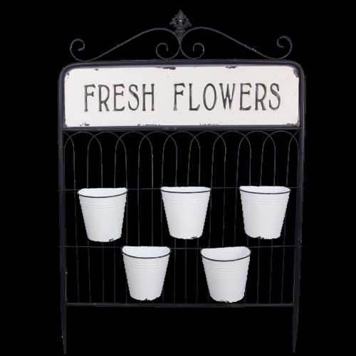 Fresh Flowers Metal Five Pot Hanging Planter Perspective: front