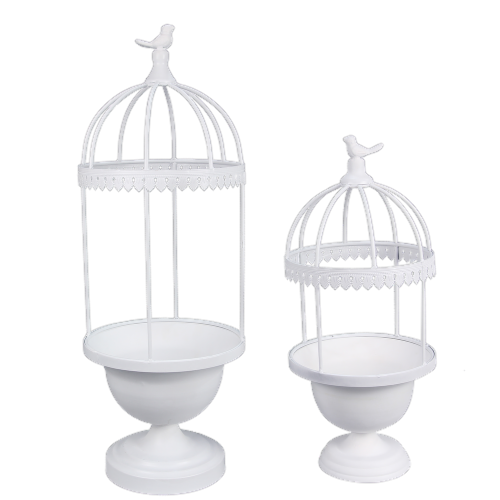 Metal Bird Cage Planter Two Piece Set Perspective: front