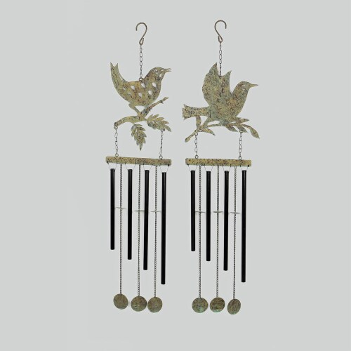 Metal Birds Wind Chime Set of Two Perspective: front