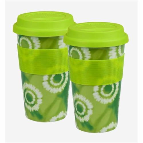 Waechtersbach 41S2TM1201 Set of 2 Medium Travel Mugs Batik Green Perspective: front