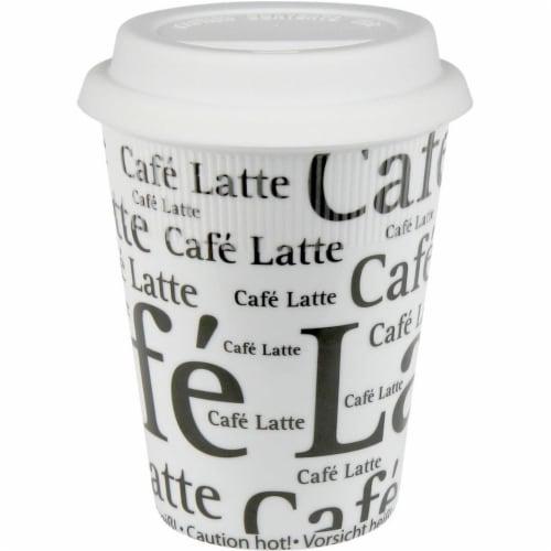 Konitz 44 5 162 0647 Cafe Latte Writing on Travel Mugs, White - Set of 4 Perspective: front
