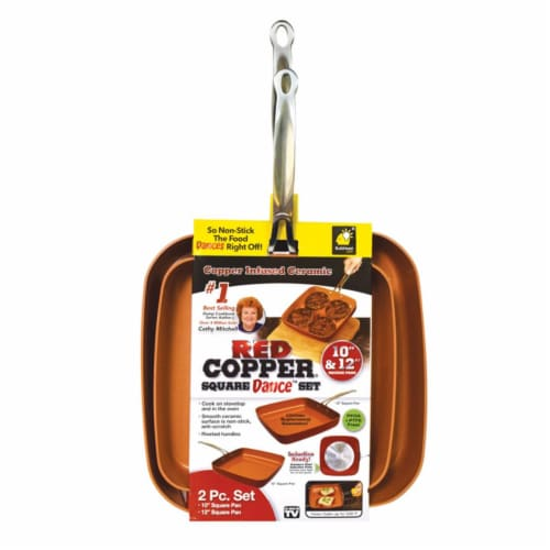Red Copper® Square Dance™ Pan Set - Red Perspective: front