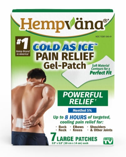 Hempvana Cold As Ice Large Pain Relief Patches Perspective: front