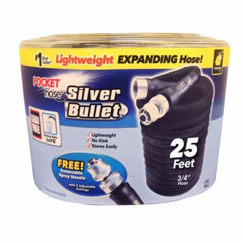 Pocket Hose Silver Bullet 3/4 in. Dia. x 25 ft. L Expanding Black Fabric Garden Hose - Case Perspective: front