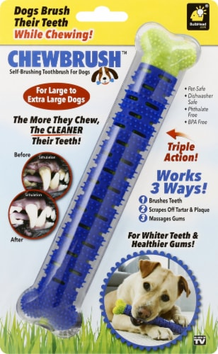 BulbHead ChewBrush Dog Toy - Blue Perspective: front