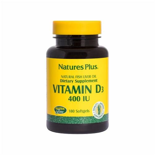 Natures Plus Vitamin D3 Softgels 400 IU 180 Count Perspective: front