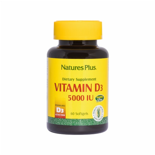 Nature's Plus Vitamin D3 Softgels 5000IU Perspective: front