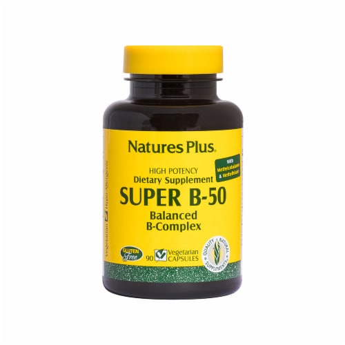 Natures Plus Super B-50 Balanced B-Complex Capsules 90 Count Perspective: front
