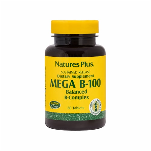 Nature's Plus Sustained Release Mega B-100 Balanced B-Complex Tablets Perspective: front