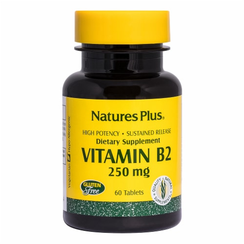 Nature's Plus Vitamin B-2 Sustained Release Tablets 250mg Perspective: front