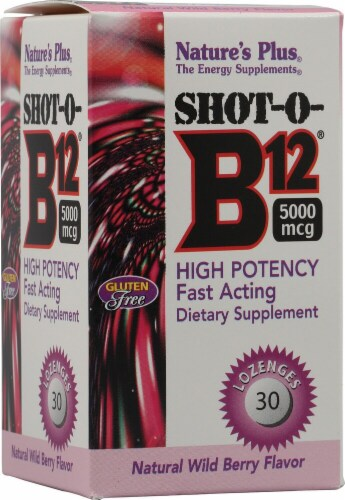 Nature's Plus  Shot-O-B12® Lozenges   Wild Berry Perspective: front