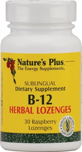 Nature's Plus B-12 Raspberry Herbal Lozenges Perspective: front