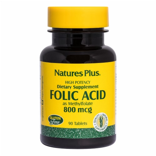 Natures Plus High Potency Folic Acid Tablets 800mcg Perspective: front