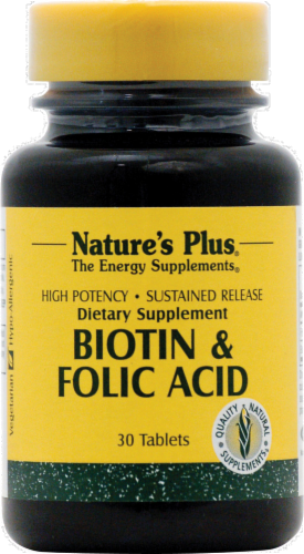 Nature's Plus Biotin & Folic Acid Tablets Perspective: front