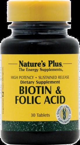 Nature's Plus Biotin & Folic Acid Tablets Perspective: front