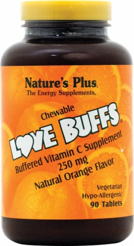 Nature's Plus Love Buffs® Chewable Buffered Vitamin C Natural Orange Dietary Supplement Perspective: front