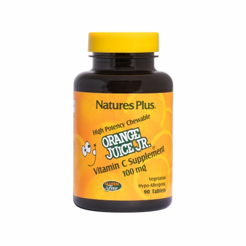Natures Plus Orange Juice Jr. Vitamin C Tablets 100mg 90 Count Perspective: front