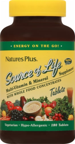 Nature's Plus Source Of Life Multi-Vitamin & Mineral Tablets 180 Count Perspective: front