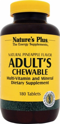 Nature's Plus  Adult's Chewable Multi-Vitamin and Mineral   Natural Pineapple Perspective: front