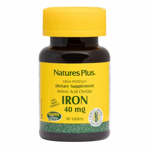 Nature's Plus Iron Tablets 40mg Perspective: front