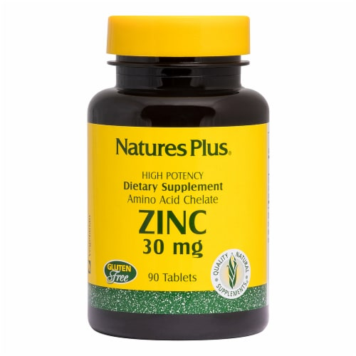 Nature's Plus Zinc Tablets 30mg Perspective: front