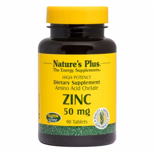 Nature's Plus Zinc Tablets 50mg Perspective: front